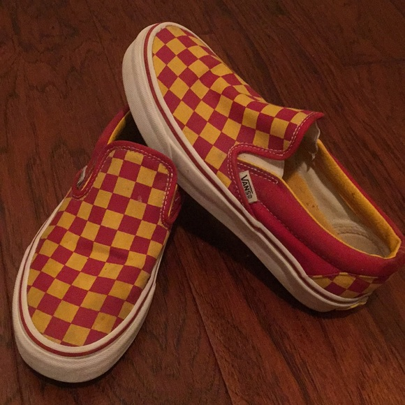 Red & Gold Checkerboard Slip on Vans (USC)
